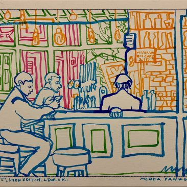 Casa Blue, Soreditch, London, UK, Color Ink on White Paper, 29.7x42cm. 2020