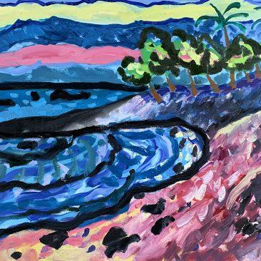 Makalawena Beach, Big Island of Hawaii, Acrilyc and Oil on Canvas, 70×100 cm. 2016