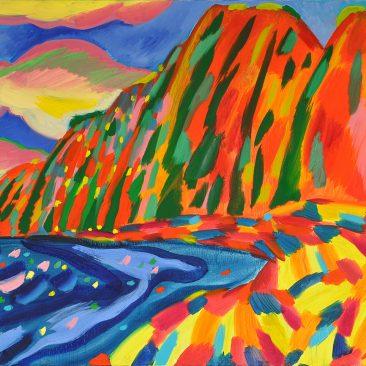 Polihale State Park, Kauia, Hawaii, Oil on Canvas, 72×100 cm. 2017