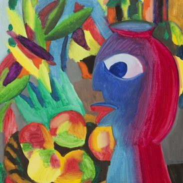 Still Life with Apples and a Vase, Oil on Canvas, 55x46 cm. 2019